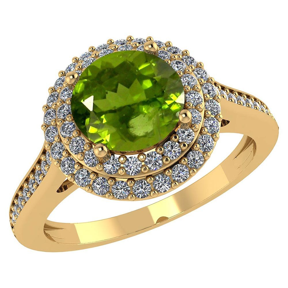 Certified 2.22 CTW Genuine Peridot And Diamond 14K Yellow Gold Ring #PAPPS91538