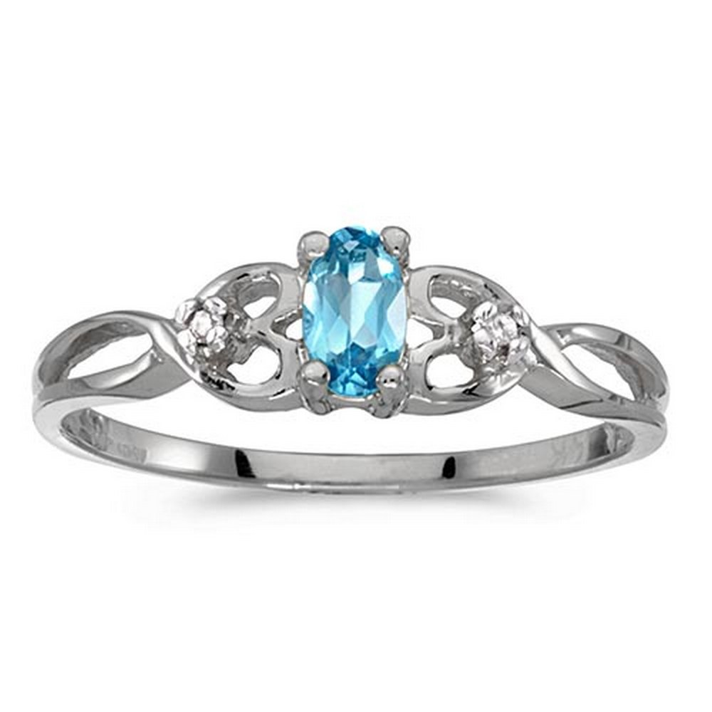 Certified 14k White Gold Oval Blue Topaz And Diamond Ring #PAPPS51352