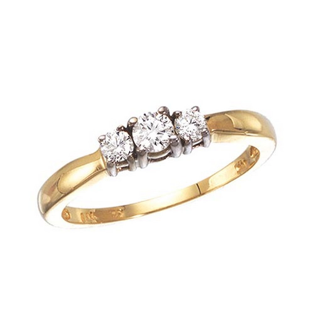 Certified 14k Yellow Gold 0.25 Ct Three Stone Diamond Ring #PAPPS51197