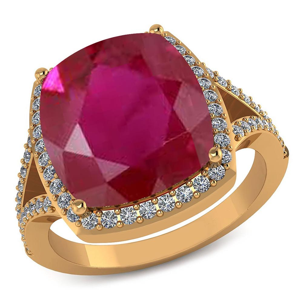 Certified 4.30 CTW Genuine Ruby And Diamond 14K Yellow Gold Ring #PAPPS91565