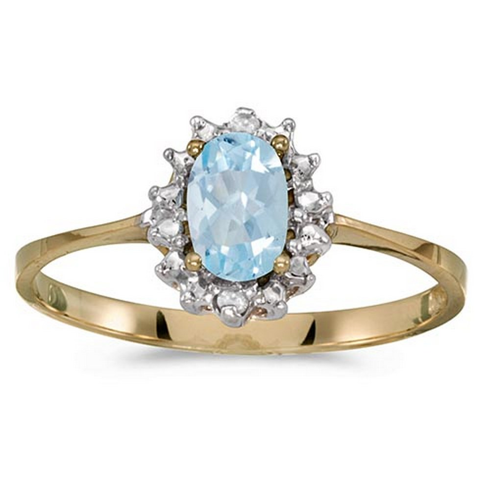 Certified 14k Yellow Gold Oval Aquamarine And Diamond Ring #PAPPS51239