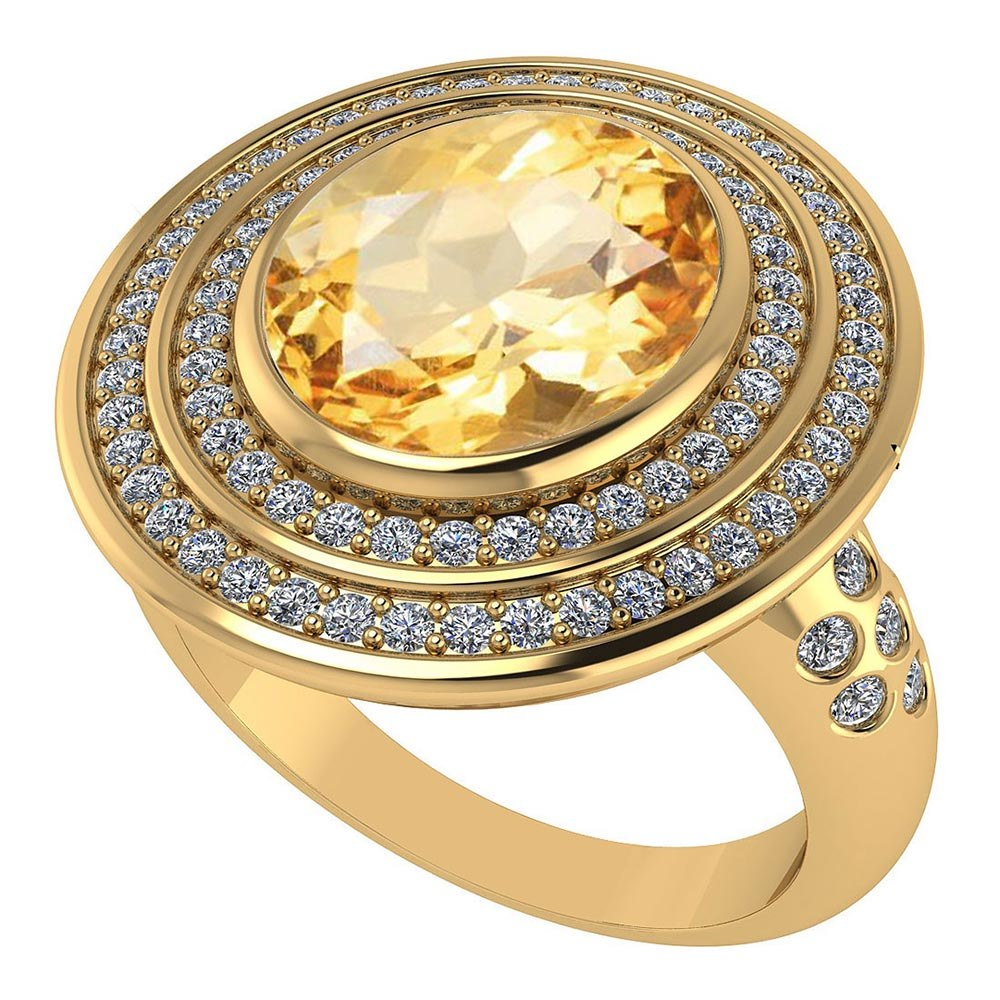 Certified 3.60 CTW Genuine Citrine And Diamond 14K Yellow Gold Ring #PAPPS91588