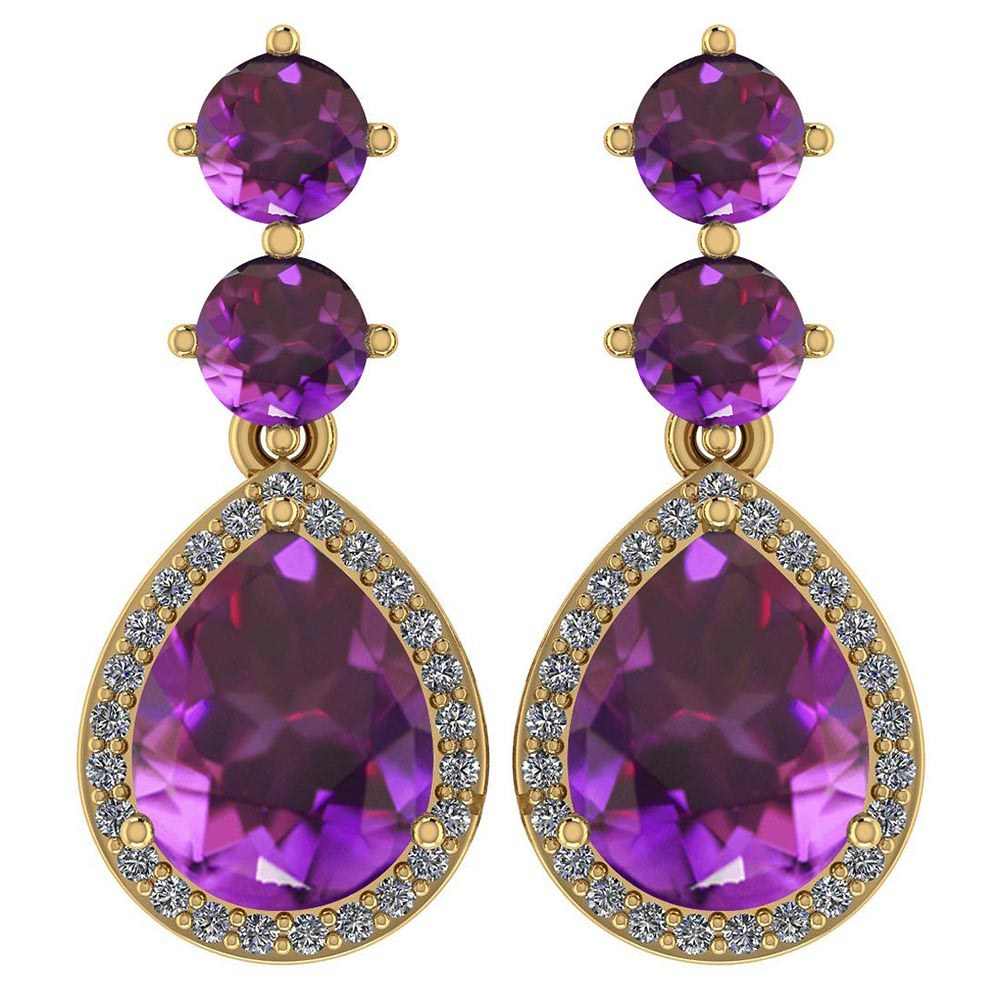 Certified 5.17 Ctw Amethyst And Diamond 14k Yellow Gold Halo Dangling Earrings #PAPPS95374