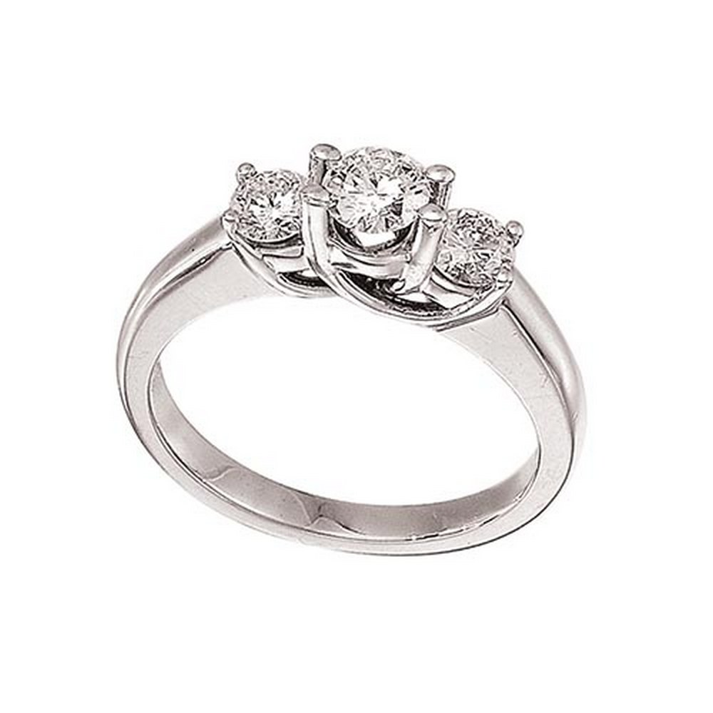 Certified 14k White Gold 0.75 Ct Three Stone Trellis Diamond Ring #PAPPS51445