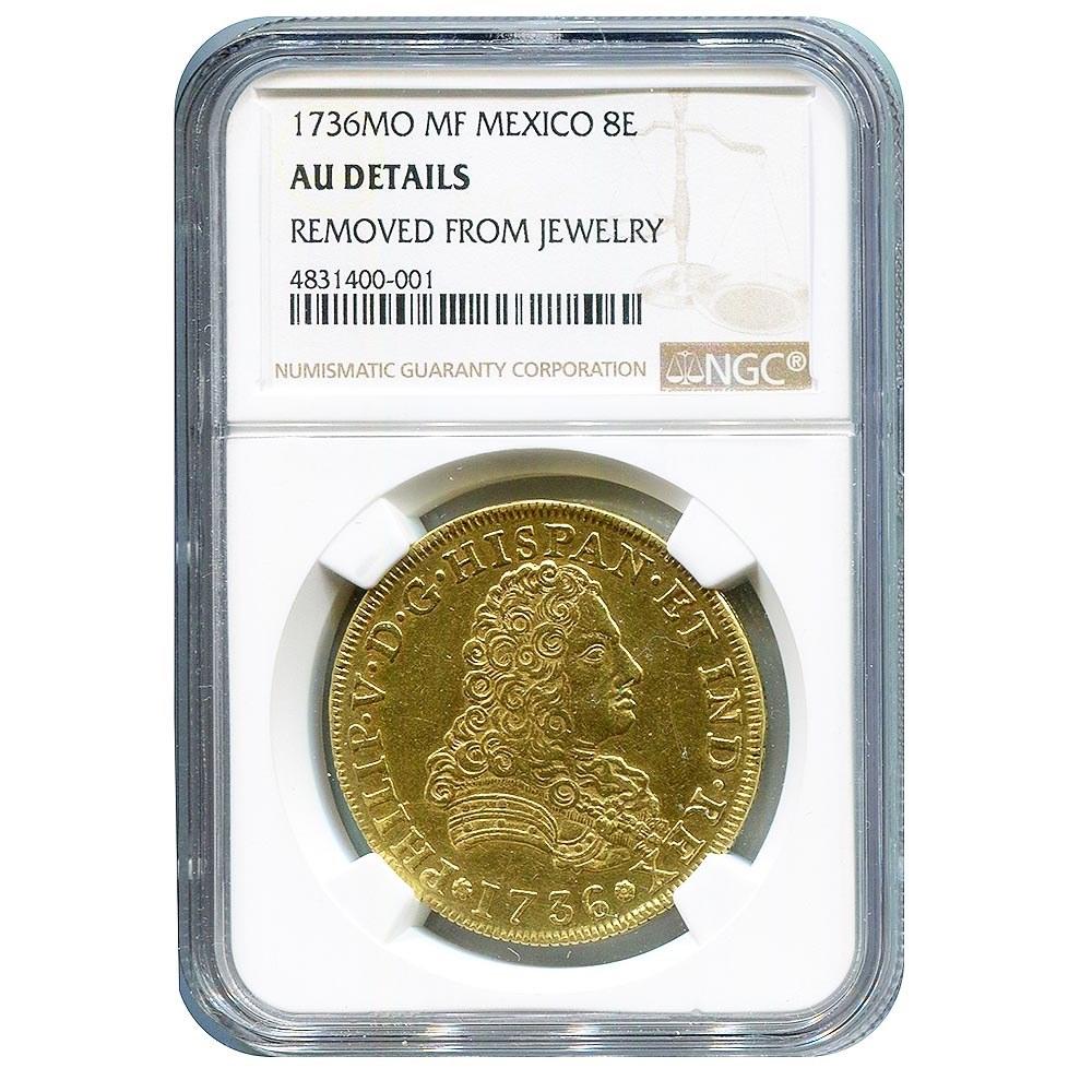 Mexico 8 Escudos Gold 1736Mo AU Details NGC #PAPPS95672