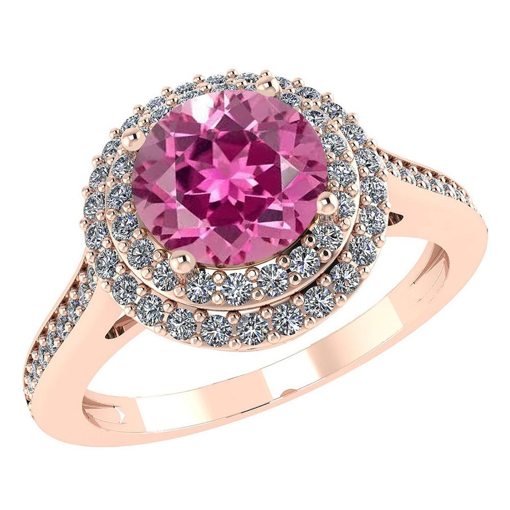 Certified 3.22 CTW Genuine Pink Tourmaline And Diamond 14K Rose Gold Ring #PAPPS91515