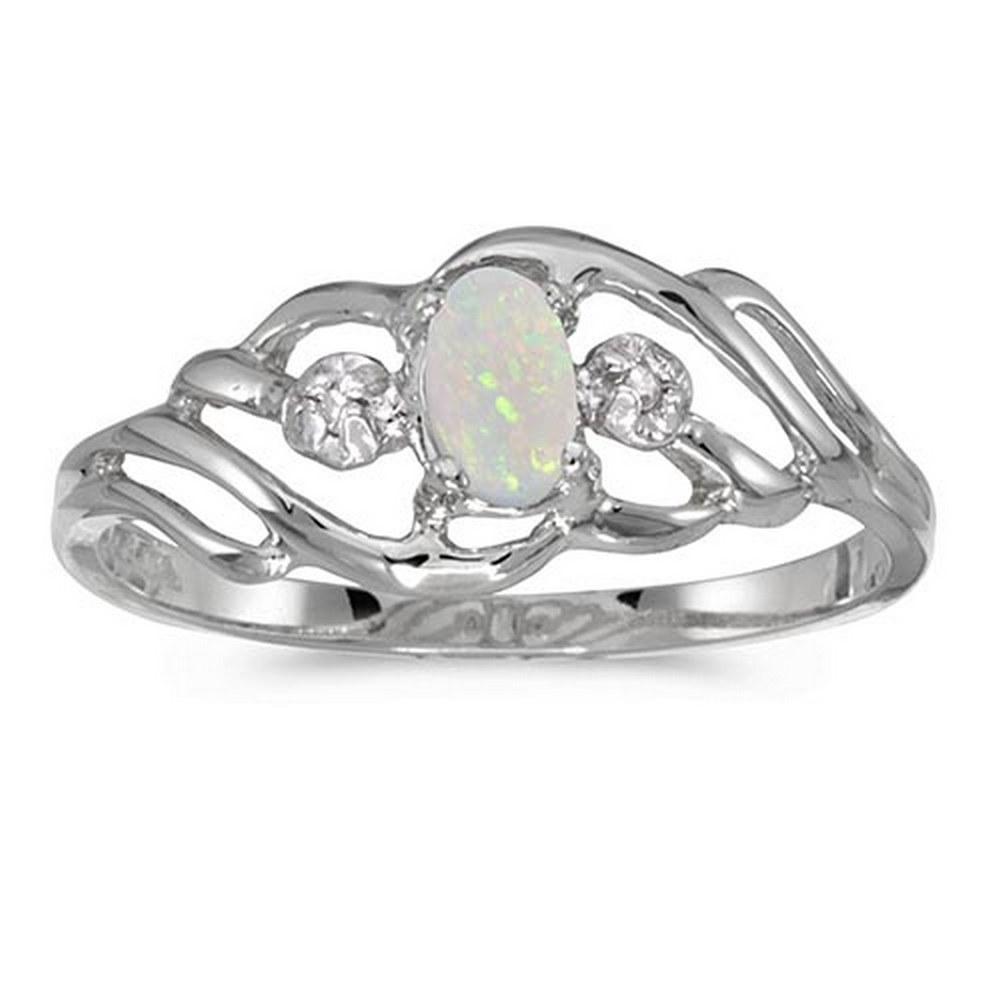 Certified 10k White Gold Oval Opal And Diamond Ring #PAPPS51286