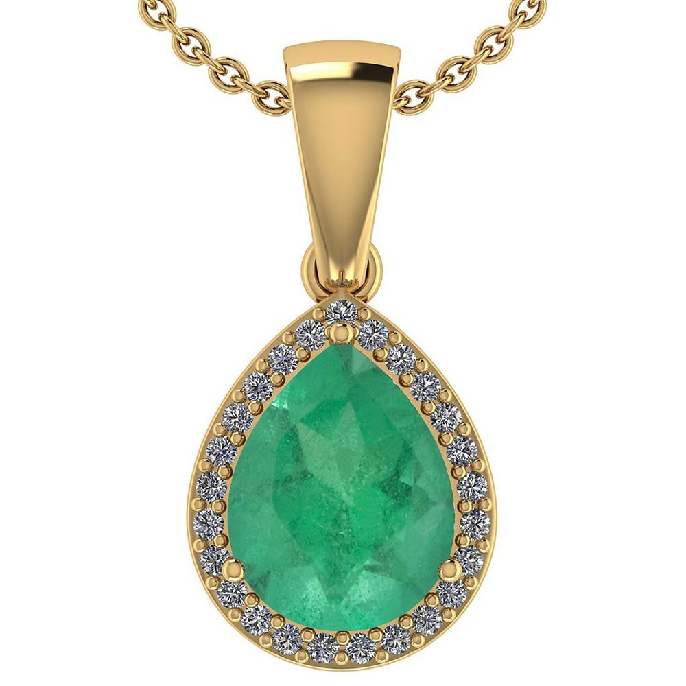 Certified 2.12 Ctw Emerald And Diamond 14k Yellow Gold Halo Pendant #PAPPS95383