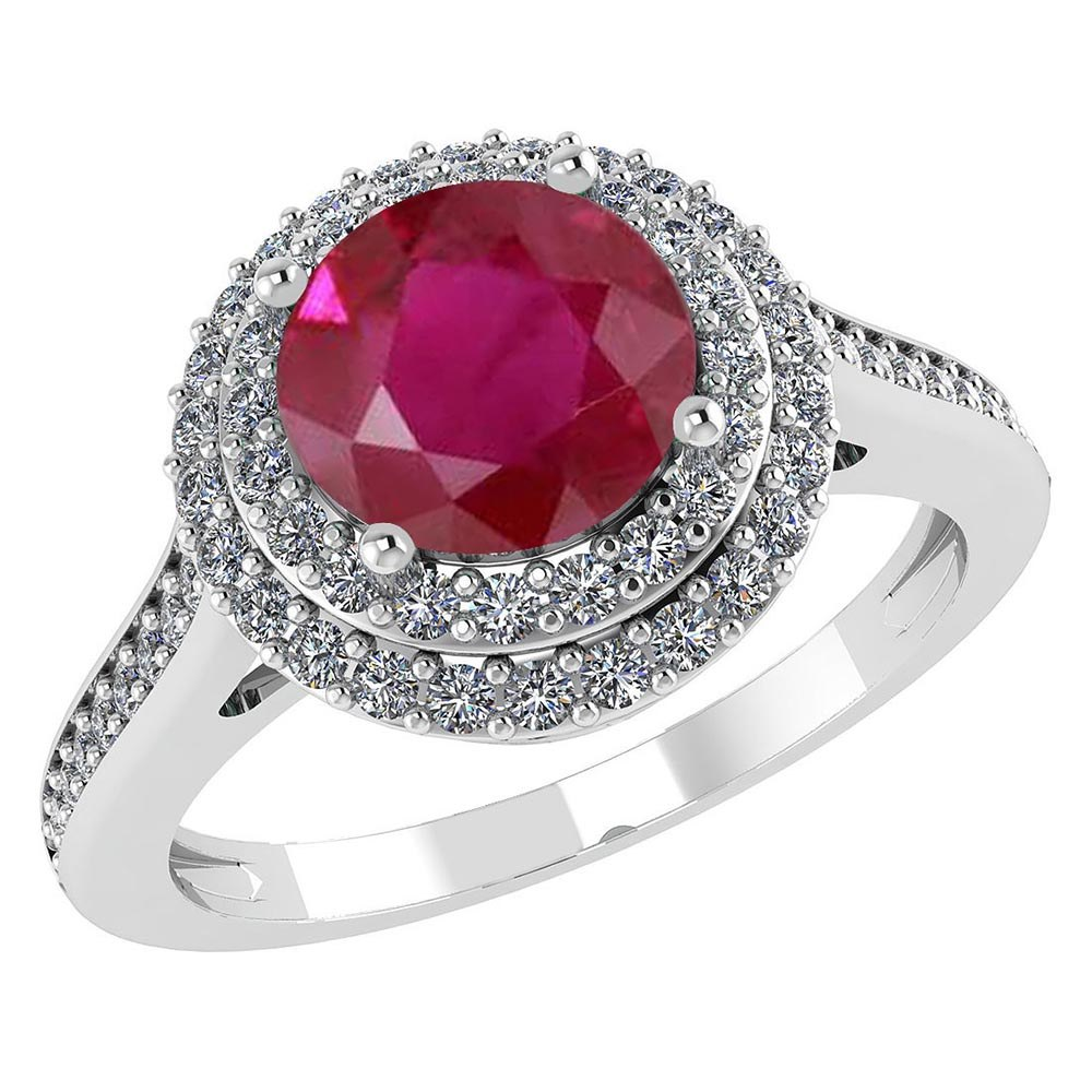 Certified 2.92 CTW Genuine Ruby And Diamond 14K White Gold Ring #PAPPS91523