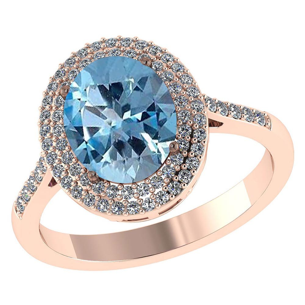 Certified 3.12 CTW Genuine Aquamarine And Diamond 14K Rose Gold Ring #PAPPS91481