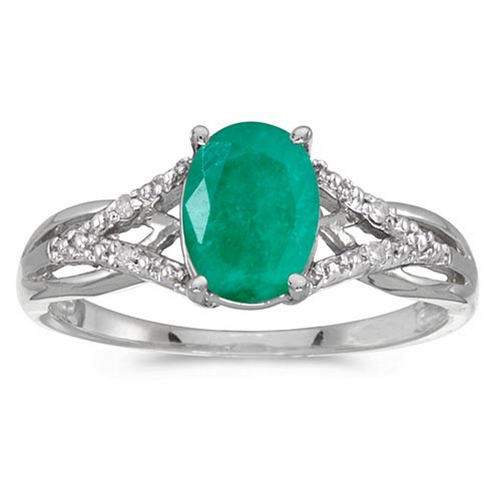 Certified 14k White Gold Oval Emerald And Diamond Ring #PAPPS51371