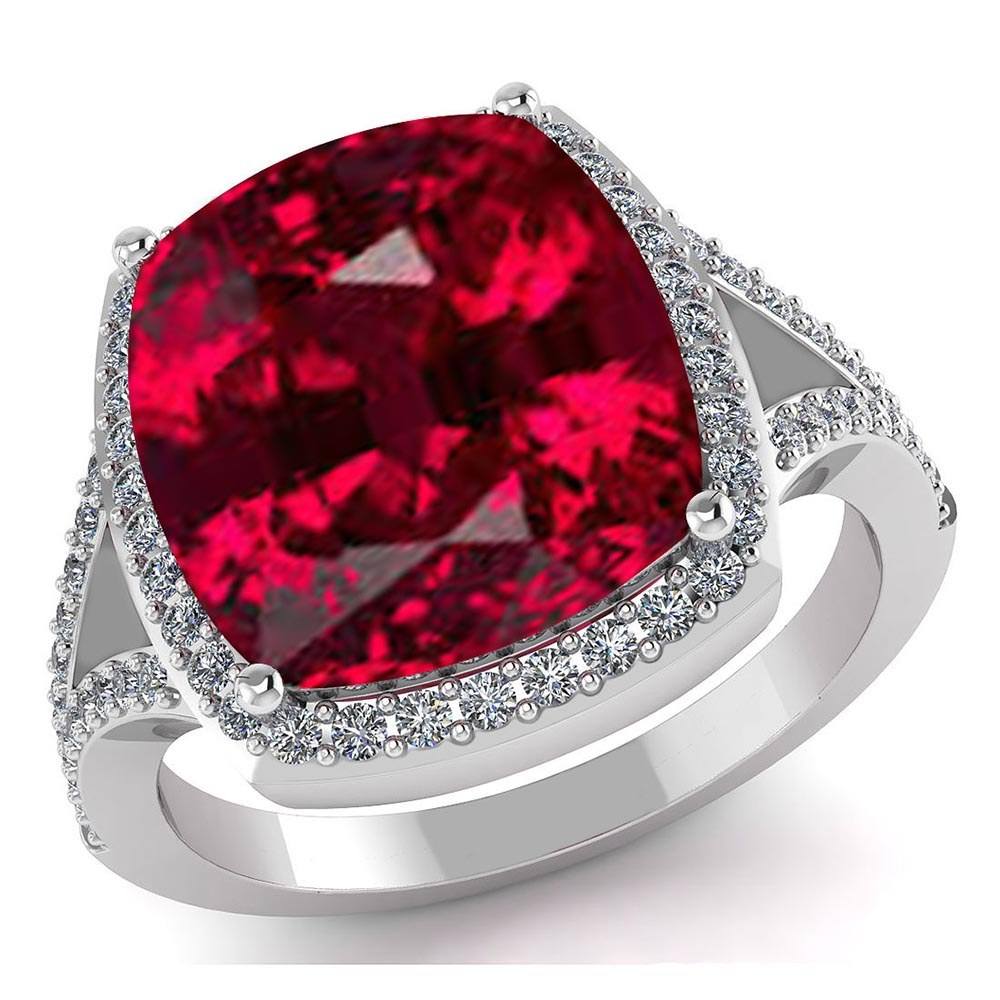 Certified 4.70 CTW Genuine Garnet And Diamond 14K White Gold Ring #PAPPS91561