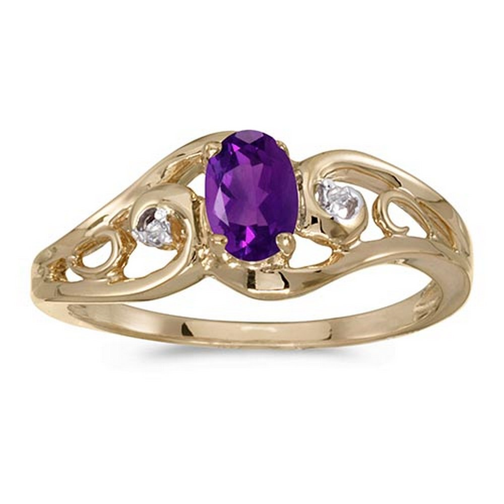Certified 14k Yellow Gold Oval Amethyst And Diamond Ring #PAPPS51257