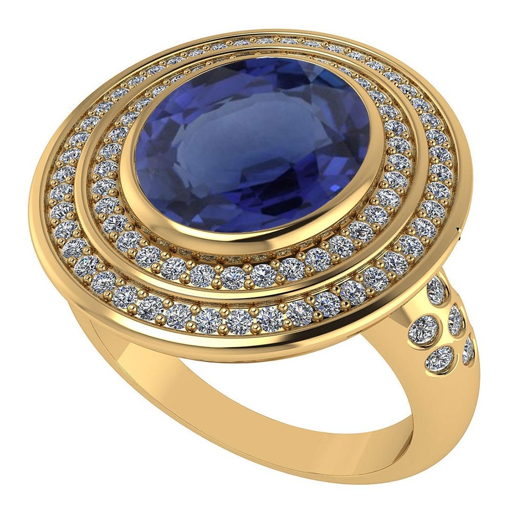 Certified 3.80 CTW Genuine Blue Sapphire And Diamond 14K Yellow Gold Ring #PAPPS91584