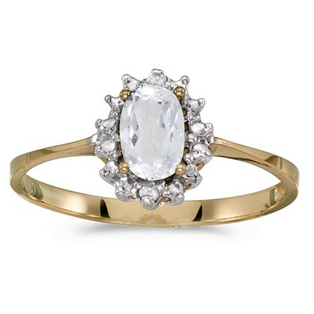 Certified 14k Yellow Gold Oval White Topaz And Diamond Ring #PAPPS51234