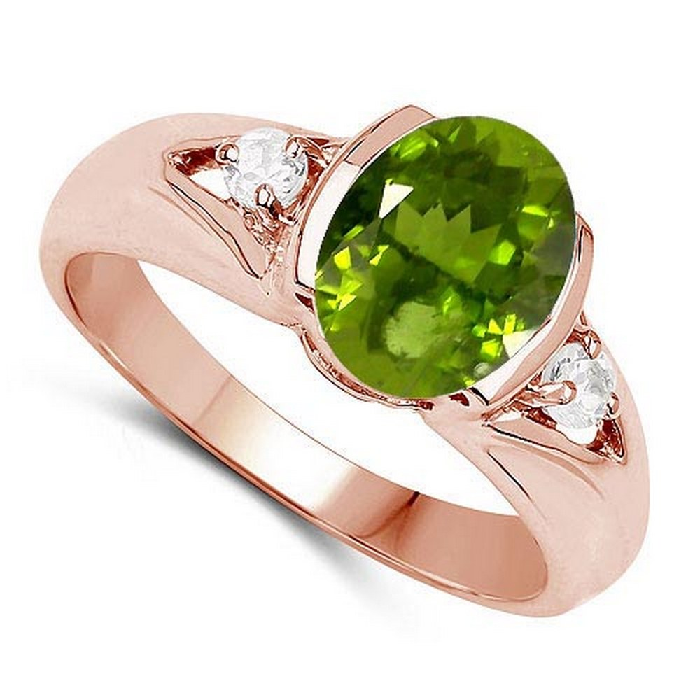 2.70 CTW Genuine Peridot And Diamond 14K Yellow Gold Ring #PAPPS90535