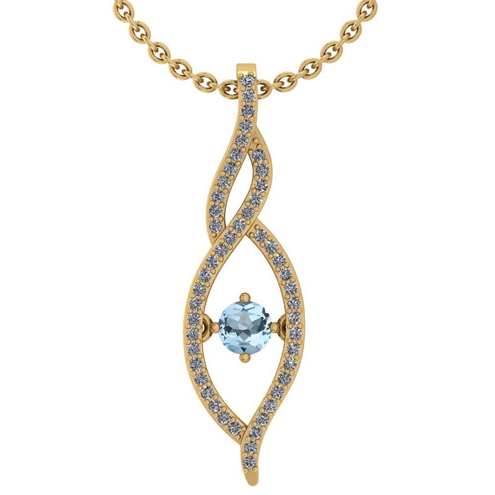 Certified 0.47 Ctw Aquamarine And Diamond 14k Yellow Gold Pendant VS-SI1 #PAPPS95339