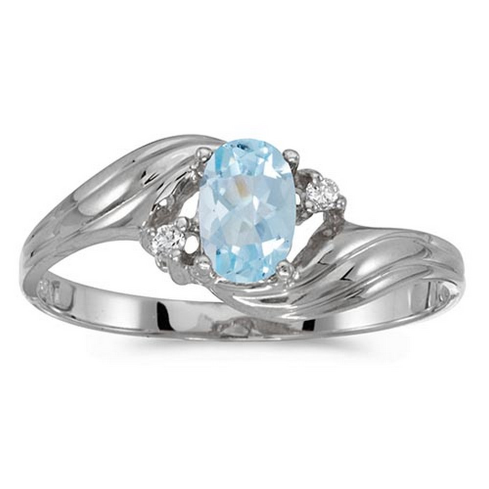 Certified 10k White Gold Oval Aquamarine And Diamond Ring #PAPPS51174