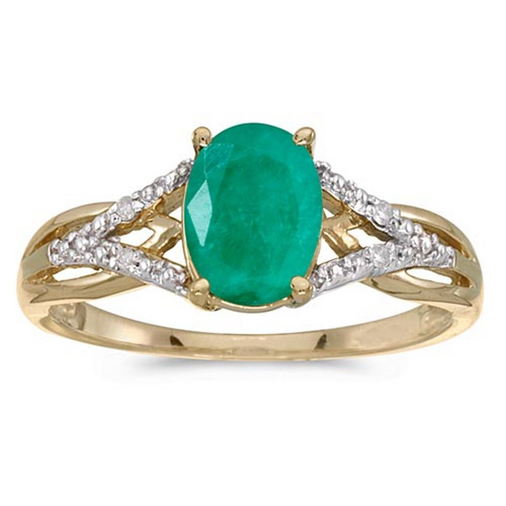 Certified 14k Yellow Gold Oval Emerald And Diamond Ring #PAPPS51455