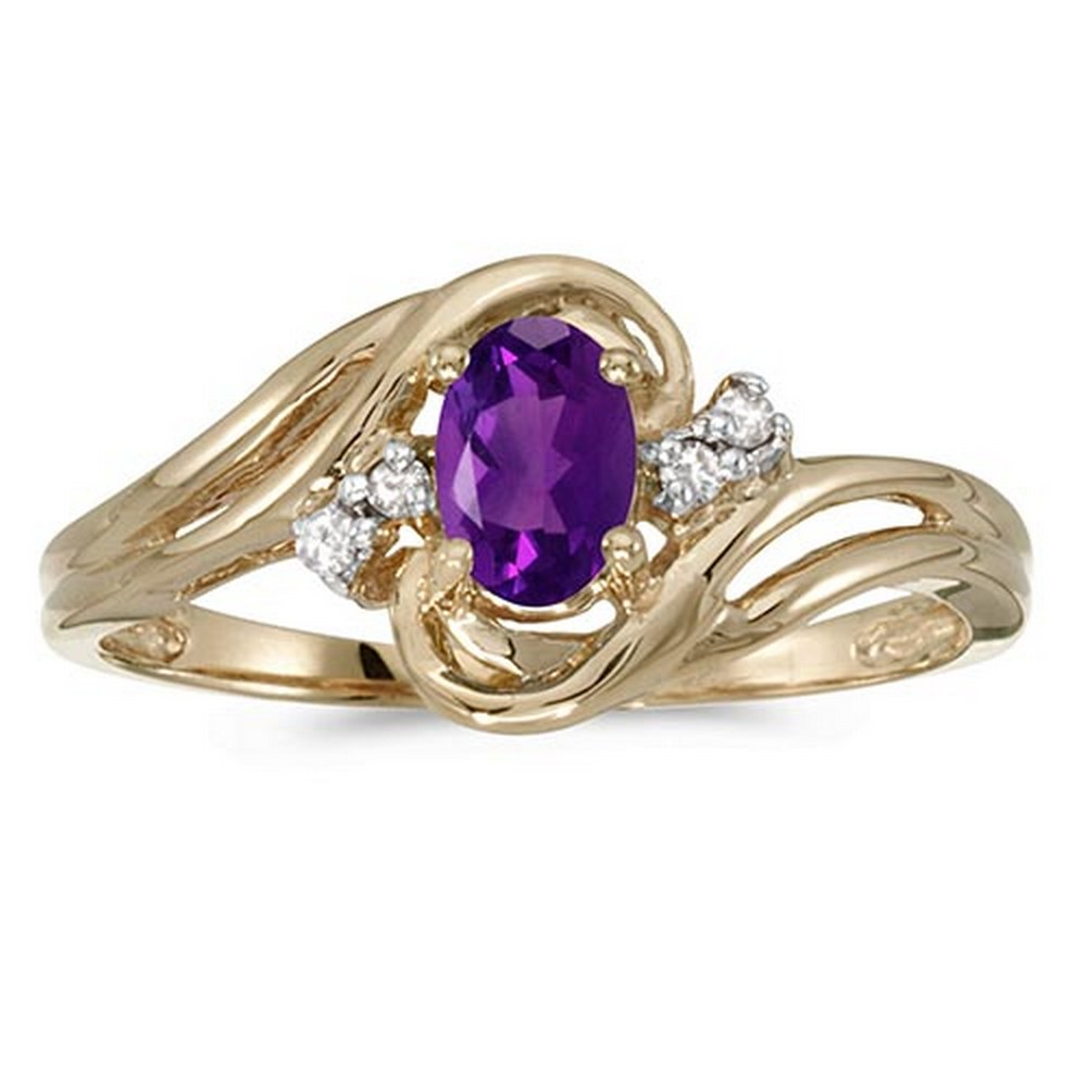 Certified 10k Yellow Gold Oval Amethyst And Diamond Ring #PAPPS51224