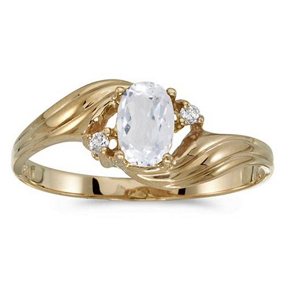 Certified 10k Yellow Gold Oval White Topaz And Diamond Ring #PAPPS51206