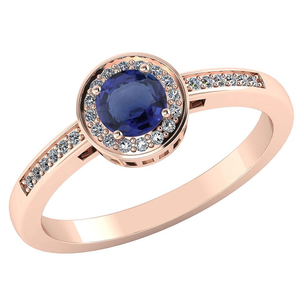 Certified 1.20 CTW Genuine Blue Sapphire And Diamond 14K Rose Gold Ring #PAPPS91607