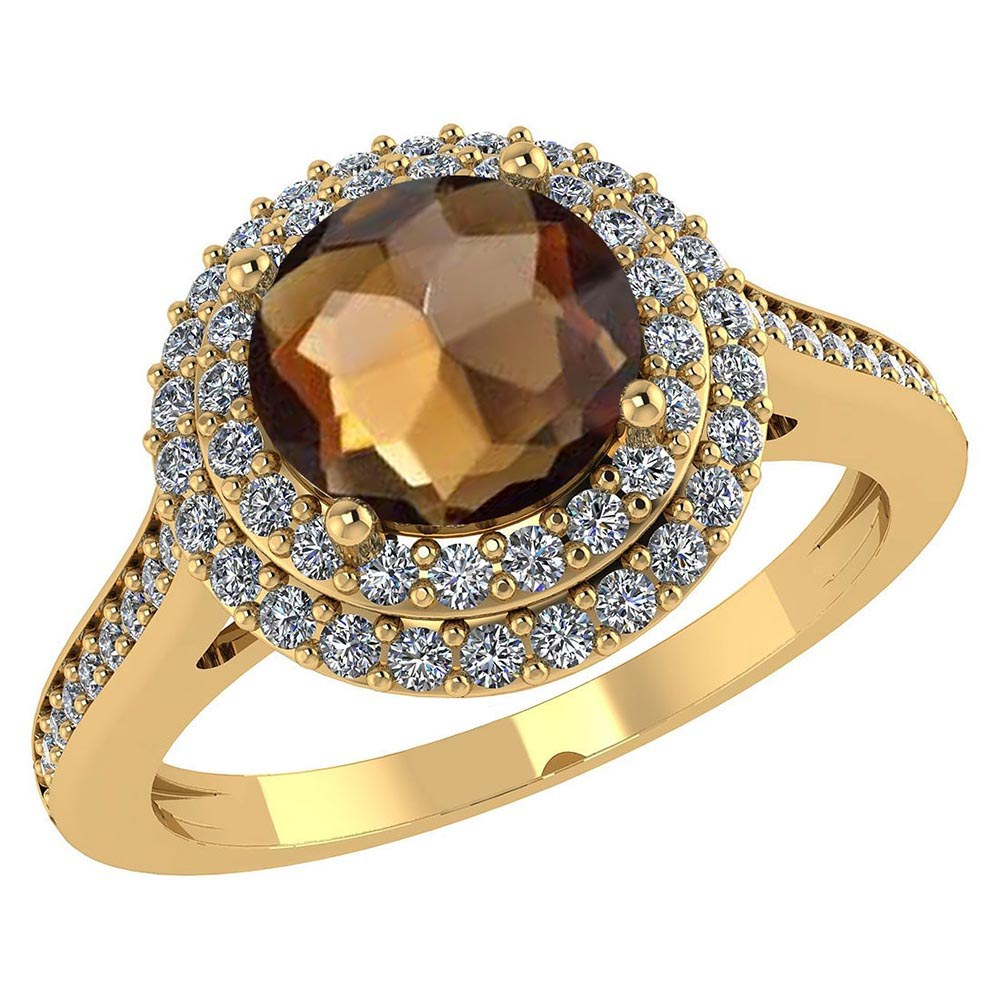Certified 2.62 CTW Genuine Smoky Quartz And Diamond 14K Yellow Gold Ring #PAPPS91542