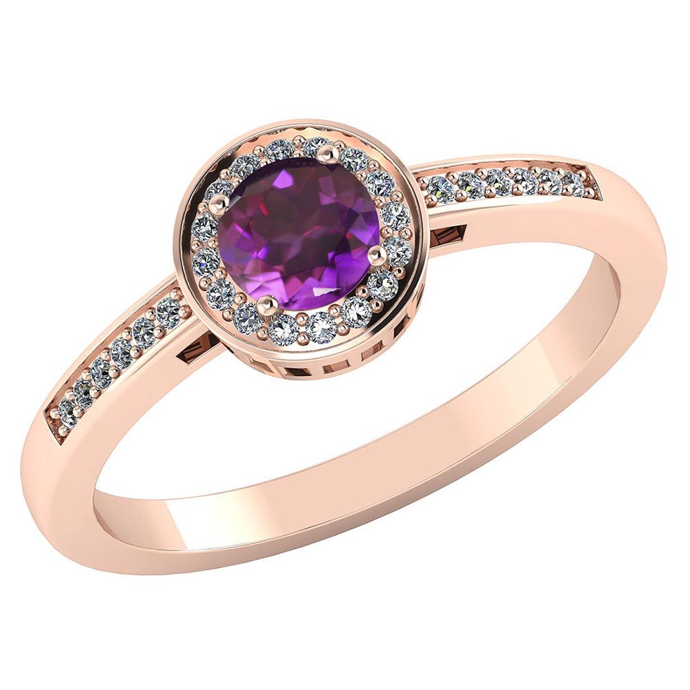 Certified 1.20 CTW Genuine Amethyst And Diamond 14K Rose Gold Ring #PAPPS91612
