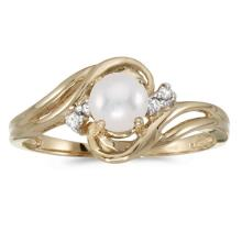 Certified 10k Yellow Gold Pearl And Diamond Ring 0.04 CTW #51142v3