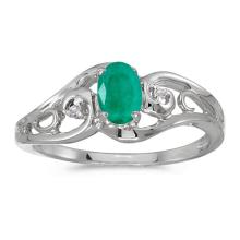 Certified 14k White Gold Oval Emerald And Diamond Ring 0.32 CTW #51160v3