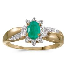 Certified 14k Yellow Gold Oval Emerald And Diamond Ring 0.32 CTW #25668v3