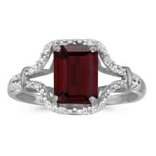 Certified 10k White Gold Emerald-cut Garnet And Diamond Ring 1.47 CTW #51305v3
