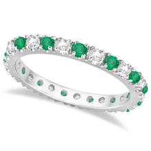Diamond and Emerald Eternity Ring Stackable Band 14K White Gold (0.64ct) #20452v3