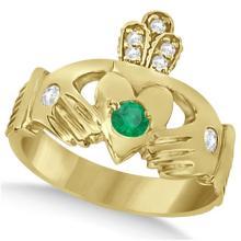 Diamond and Green Emerald Ring Claddagh Irish 14k Yellow Gold (0.35ct) #68710v3