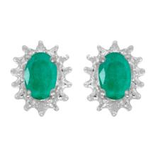 Certified 14k White Gold Oval Emerald And Diamond Earrings 0.66 CTW #25830v3