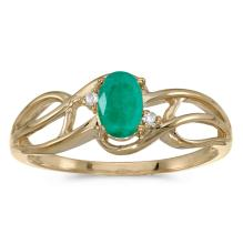 Certified 10k Yellow Gold Oval Emerald And Diamond Curve Ring 0.33 CTW #25460v3