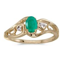 Certified 14k Yellow Gold Oval Emerald And Diamond Ring 0.32 CTW #51241v3