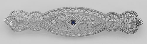 Art Deco Filigree Pin Brooch Blue Sapphire and Diamond Sterling Silver #PAPPS98099