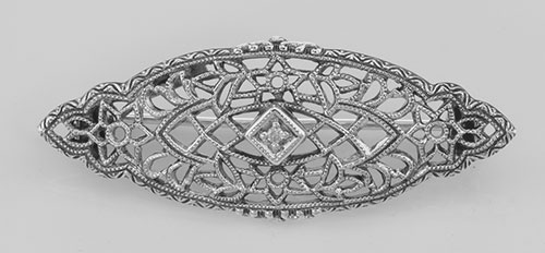 Antique Victorian Style Diamond Filigree Pin / Brooch Sterling Silver #PAPPS98082