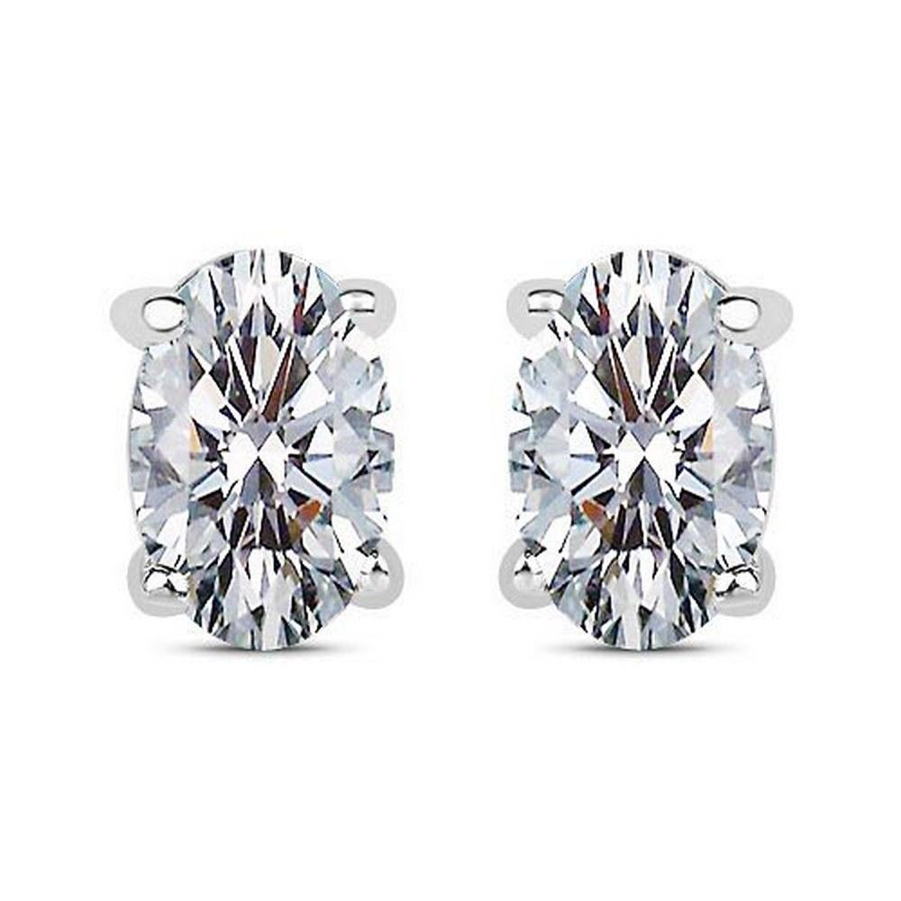 Certified 1.00 CTW Oval Diamond 14K White Gold Earring #PAPPS92284