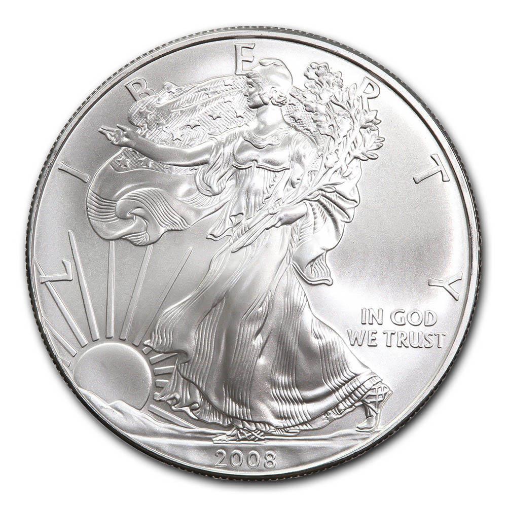 2008 1 oz Silver American Eagle BU #PAPPS49301