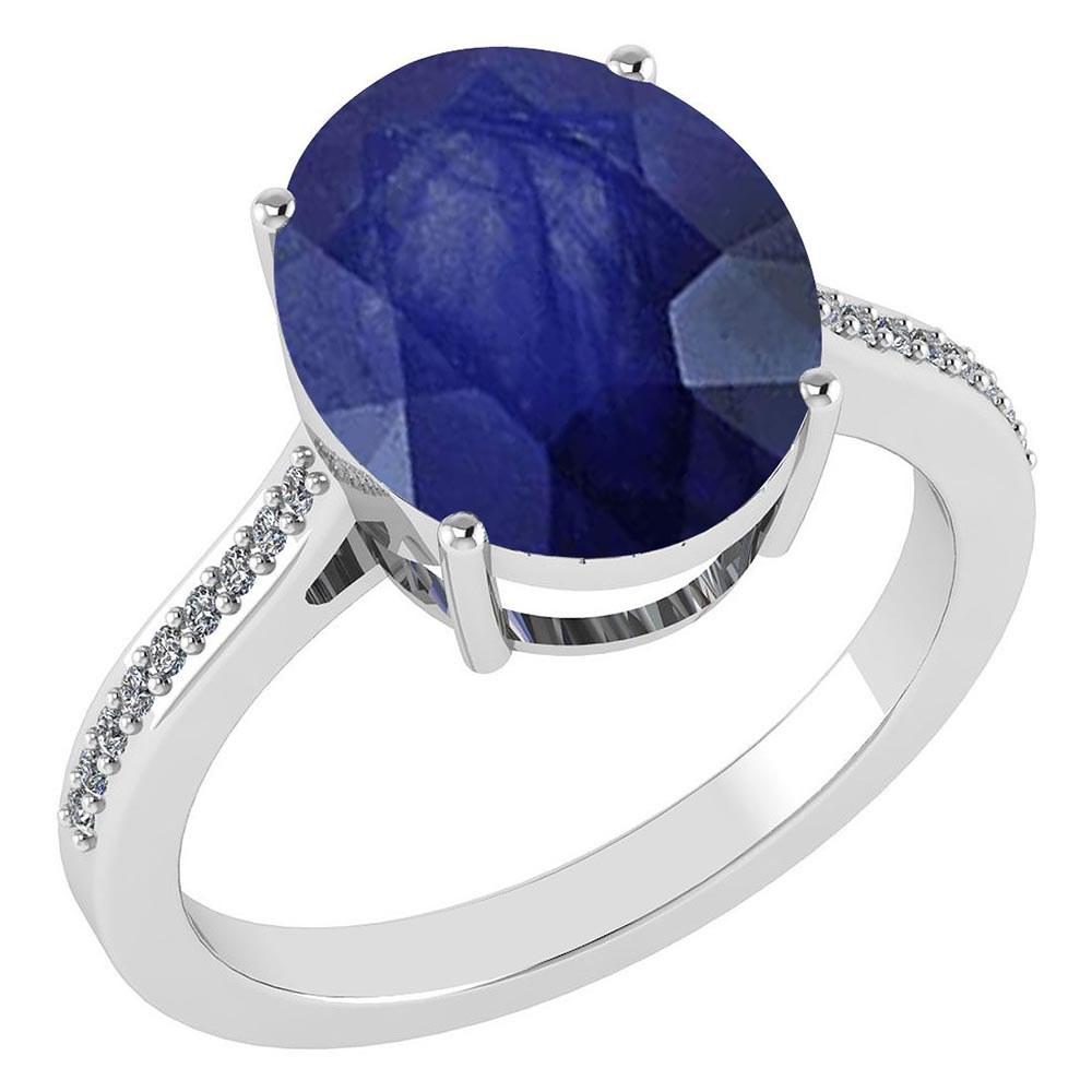 Certified 2.75 Ctw Blue Sapphire And Diamond Ring 14K White Gold #PAPPS21669