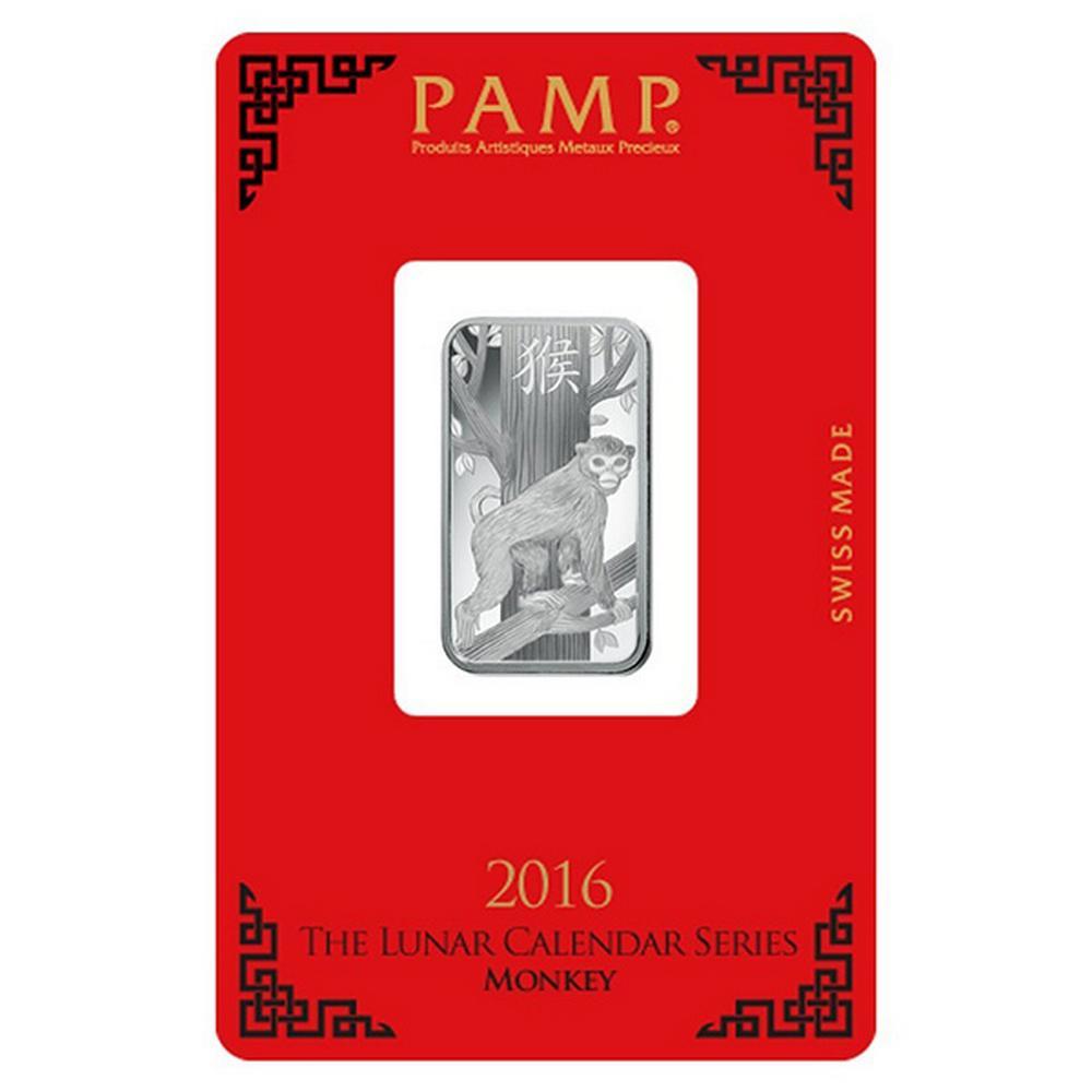 PAMP Suisse Silver Bar 10 Gram - 2016 Monkey Design #PAPPS49247
