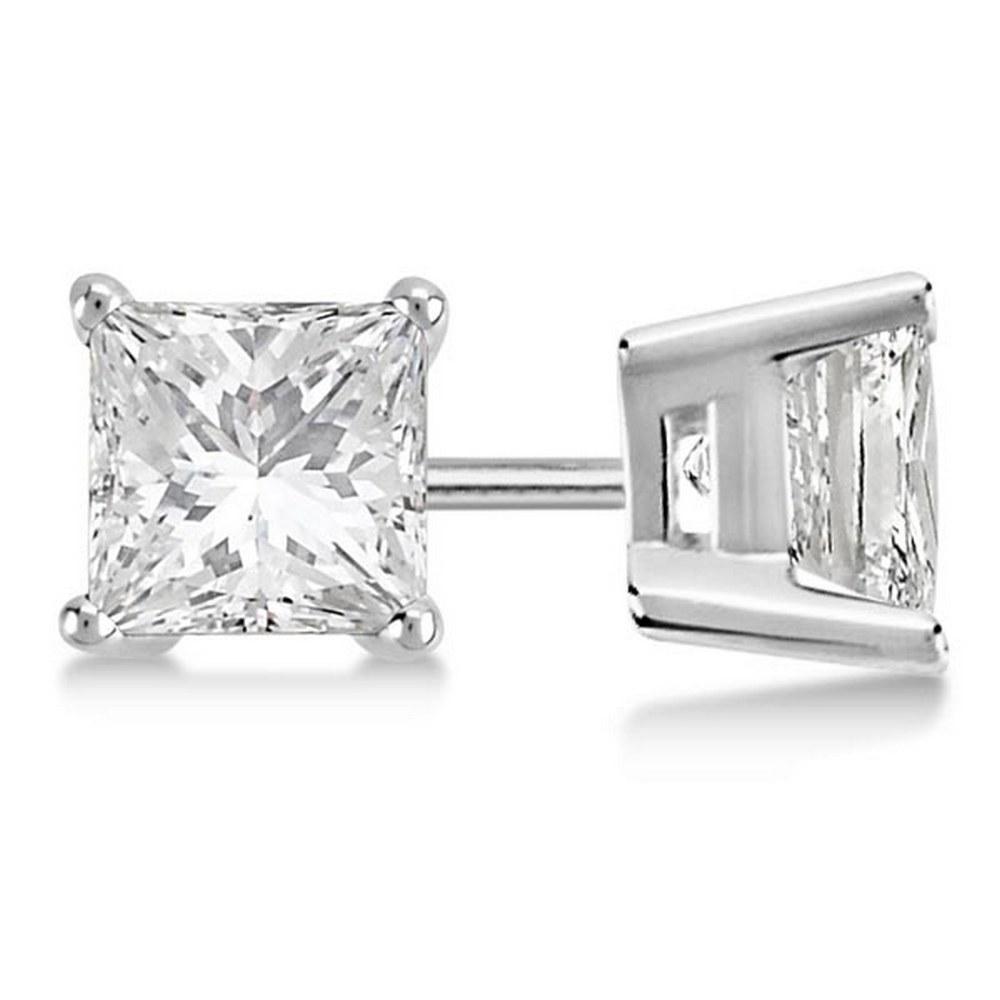 Certified 1.05 CTW Princess Diamond Stud Earrings D/SI2 #PAPPS84035