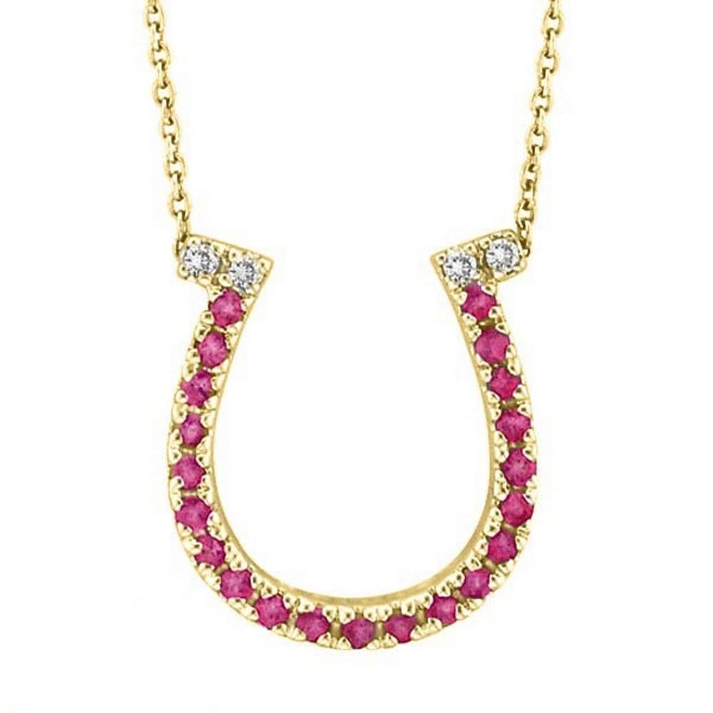 Pink Sapphire and Diamond Horseshoe Pendant 14k Yellow Gold (0.25ct) #PAPPS51956