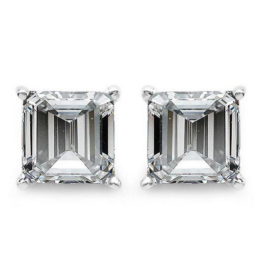 Certified .50 CTW Raident Diamond 14K White Gold Earring #PAPPS92293