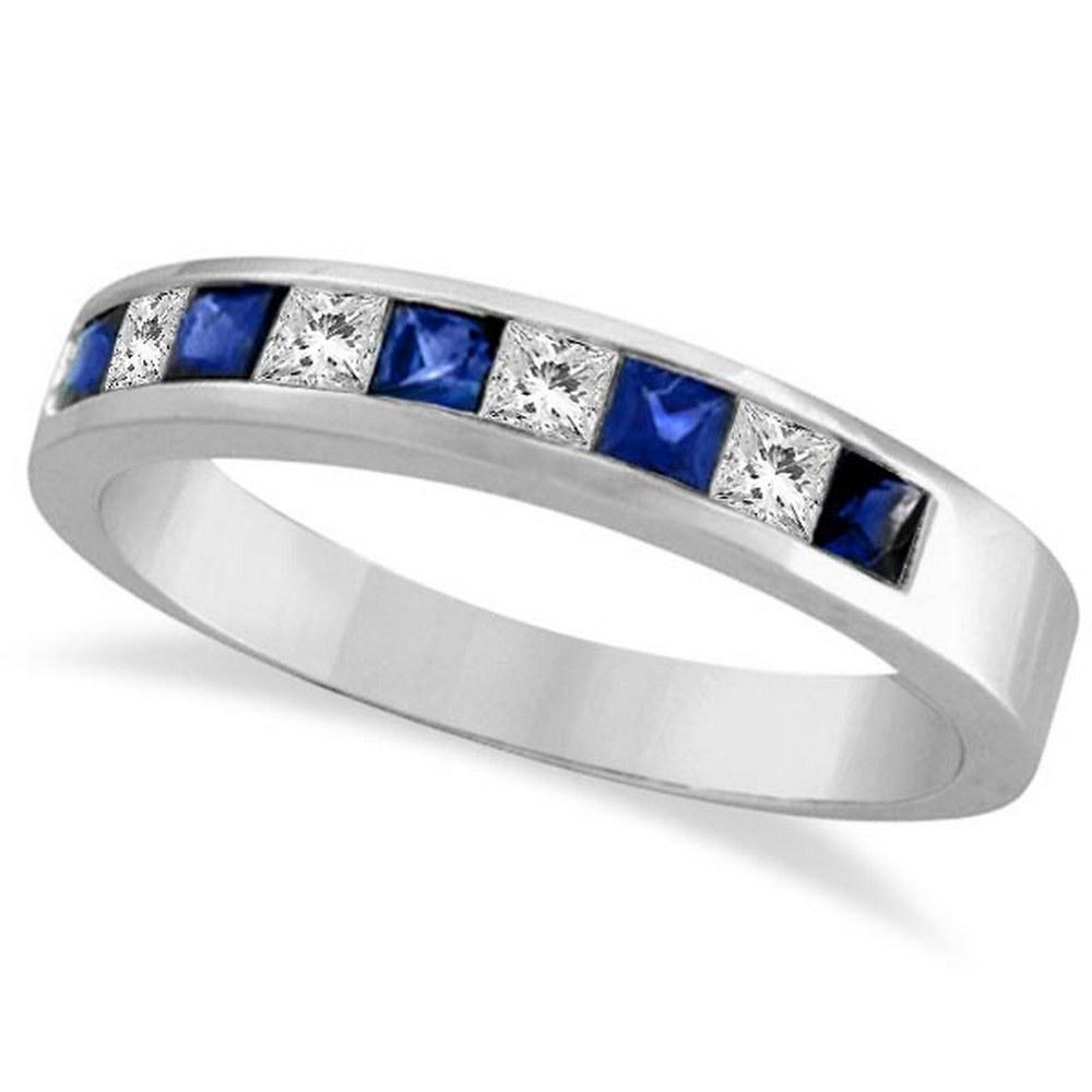 Princess-Cut Channel-Set Diamond and Sapphire Ring Band 14k White Gold #PAPPS20400