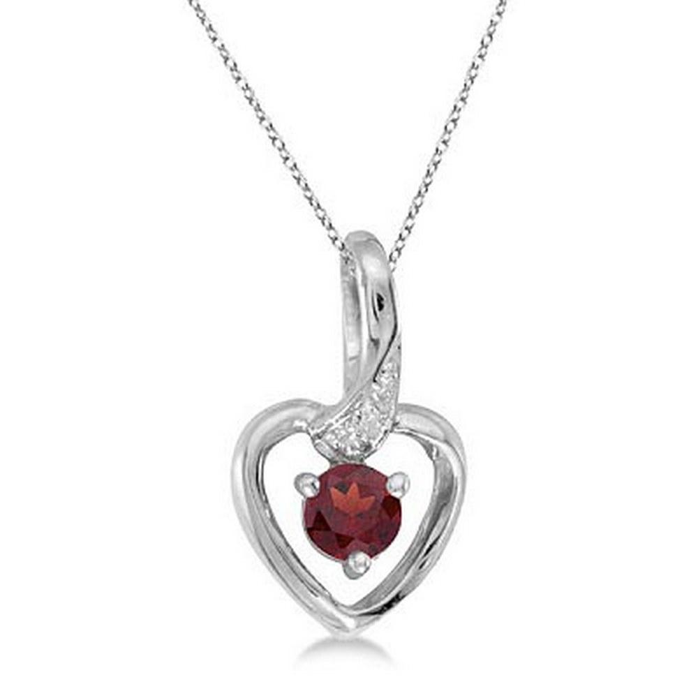 Garnet and Diamond Heart Pendant Necklace 14k White Gold #PAPPS52308