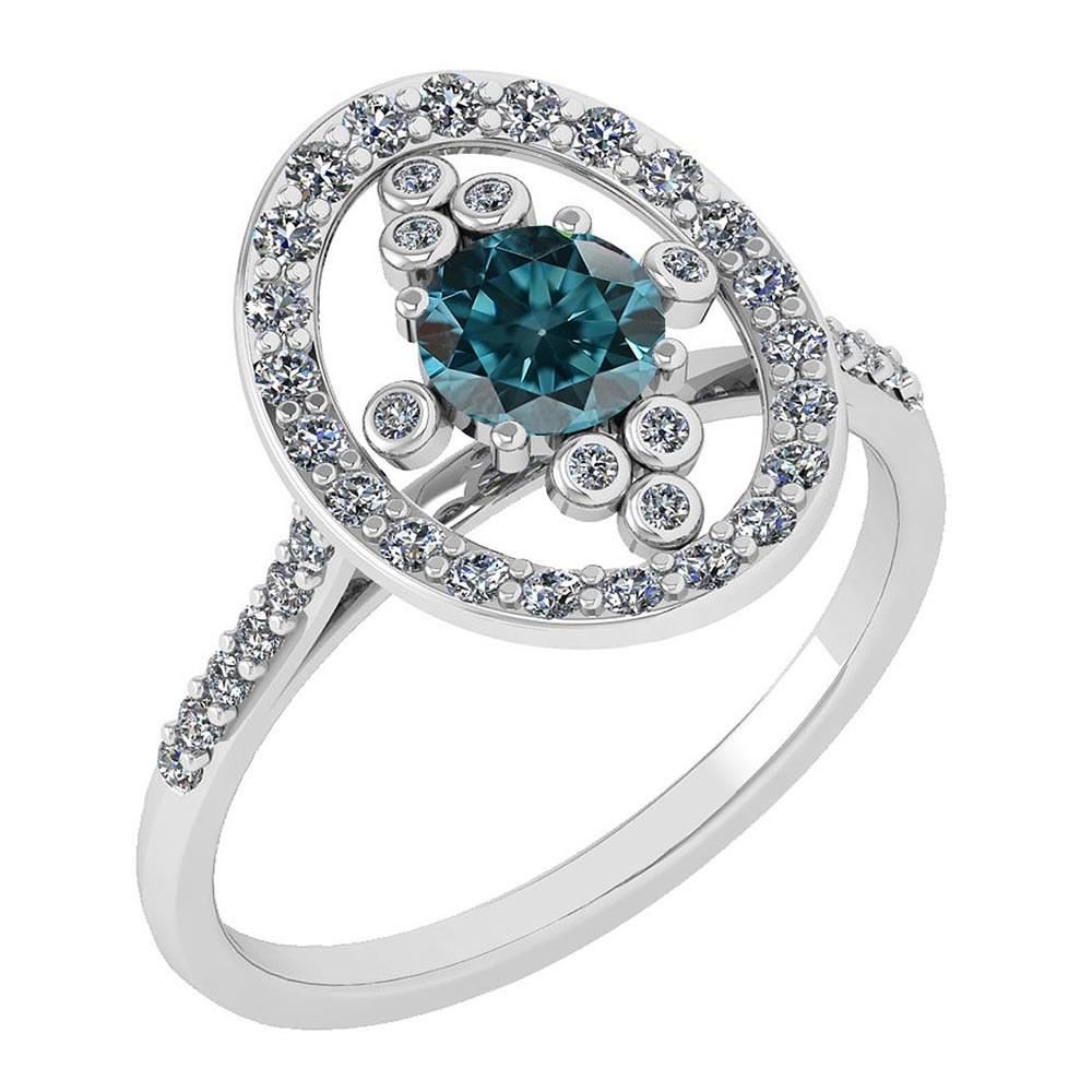 Certified 0.73 Ctw Treated Fancy Blue Diamond And White Diamond Ladies Fashion Halo Ring 14k White Gold MADE IN USA (I1/I2) #PAPPS21107