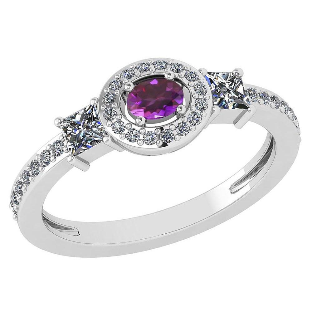 Certified 0.77Ctw Amethyst And Diamond 18k White Gold Halo Ring (VS/SI1) MADE IN USA #PAPPS20613